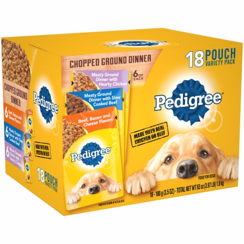 Pedigree Chopped Ground Dinner Wet Dog Food Variety Pack Perspective: left