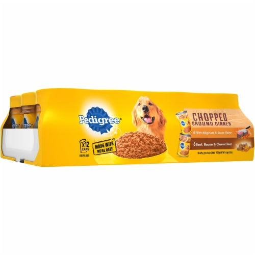 Pedigree Fliet Mignon & Bacon and Beef Bacon & Cheese Wet Dog Food Variety Pack Perspective: left