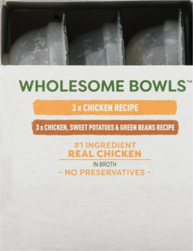 Cesar Wholesome Bowls Chicken Recipe and Chicken Sweet Potato & Green Beans Wet Dog Food Perspective: left