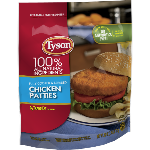 Tyson Fully Cooked Chicken Patties Perspective: left