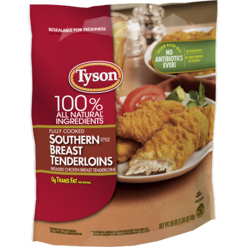 Tyson® Fully Cooked Southern Style Breaded Chicken Breast Tenderloins Perspective: left