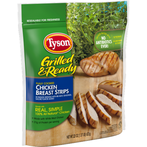 Tyson Grilled & Ready Fully Cooked Grilled Chicken Breast Strips Perspective: left