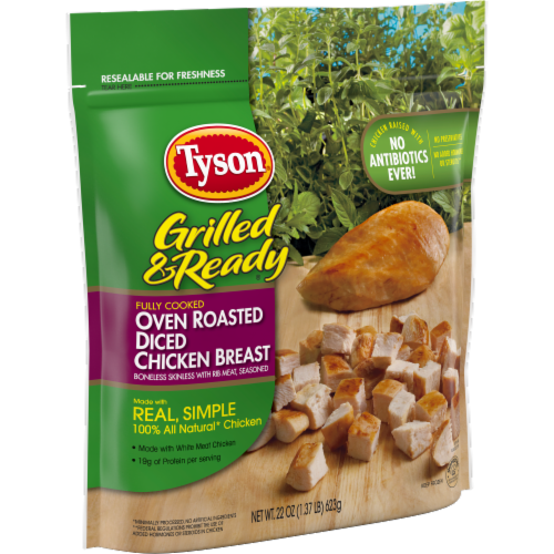 Tyson Grilled & Ready Fully Cooked Oven Roasted Diced Chicken Breast Perspective: left
