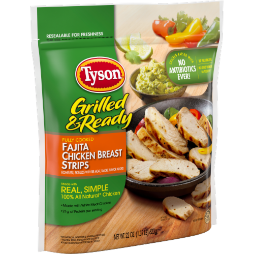 Tyson Grilled & Ready Fully Cooked Fajita Chicken Strips Perspective: left