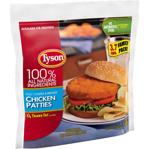 Tyson Fully Cooked & Breaded Chicken Patties Family Pack Perspective: left