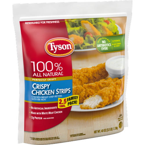 Tyson Fully Cooked Crispy Chicken Strips Perspective: left