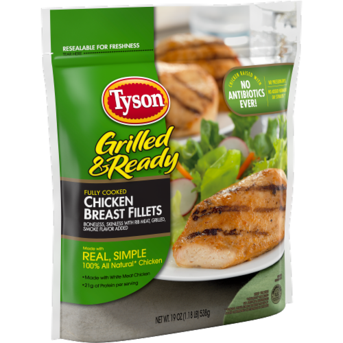 Tyson Grilled & Ready Fully Cooked Organic Premium Grilled Chicken Breasts Perspective: left