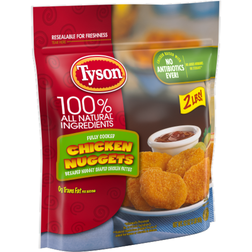 Tyson Fully Cooked Chicken Nuggets Perspective: left