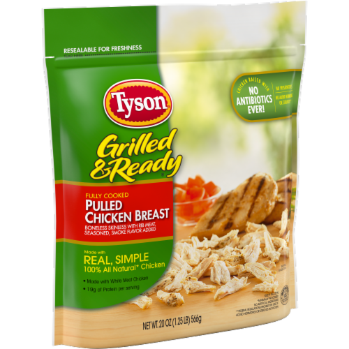 Tyson Grilled & Ready Fully Cooked Pulled Chicken Breast Perspective: left