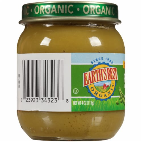Earth's Best Organic Peas Stage 2 Baby Food Perspective: left