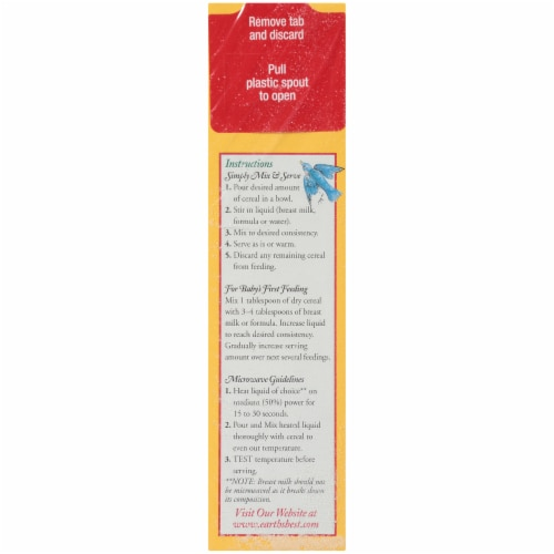 Earth's Best Organic Whole Grain Rice Cereal Baby Food Perspective: left