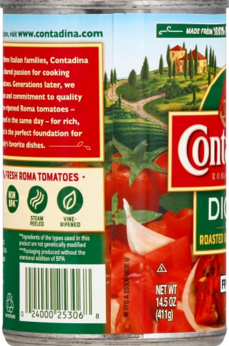 Contadina Diced Tomatoes with Roasted Garlic Perspective: left