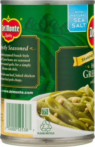 Del Monte French Style Green Beans with Roasted Garlic Perspective: left