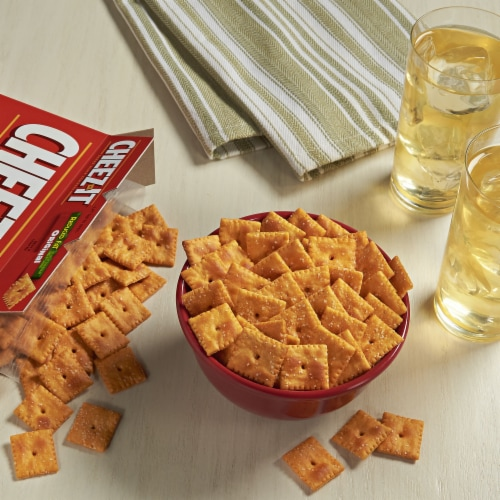 Cheez-It Baked Snack Cheese Crackers Reduced Fat Original Family Size Perspective: left