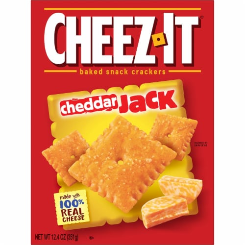 Cheez-It Baked Snacks Cheddar Jack Cheese Crackers Perspective: left
