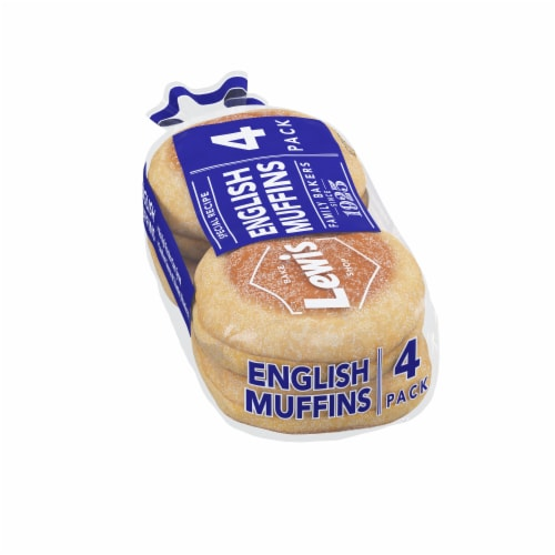 Lewis Bake Shop Special Recipe White English Muffins 4 Count Perspective: left