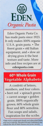 Eden Organic Vegetable Alphabets Pasta Perspective: left