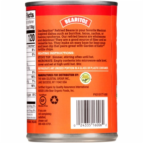 Bearitos Low Fat Organic Traditional Refried Beans Perspective: left