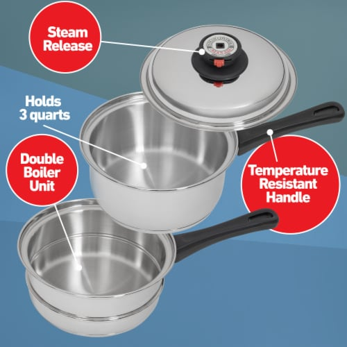 Maxam 9-Element Waterless Cookware Set Durable Stainless Steel Construction, 17 Pieces Perspective: left