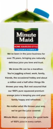 Minute Maid Home Squeezed Style Calcium and Vitamin D 100% Orange Juice Drink Perspective: left