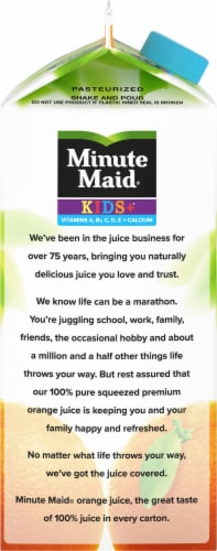 Minute Maid Pulp Free Kids+ Calcium 100% Orange Juice Perspective: left
