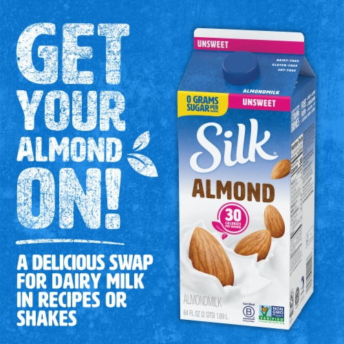 Silk Unsweetened Almondmilk Perspective: left