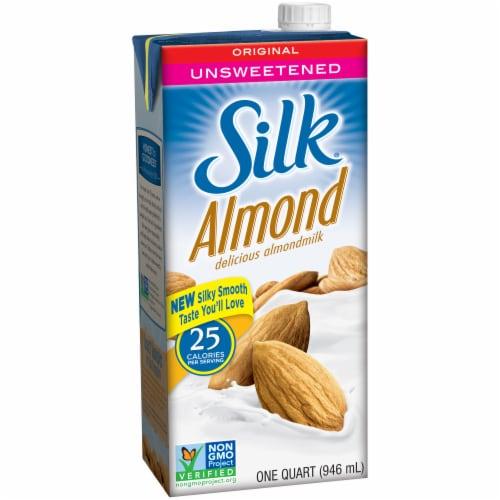 Silk Unsweet Almond Milk Perspective: left