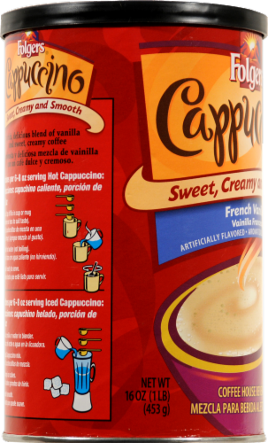 Folgers French Vanilla Cappuccino Coffee Mix Perspective: left