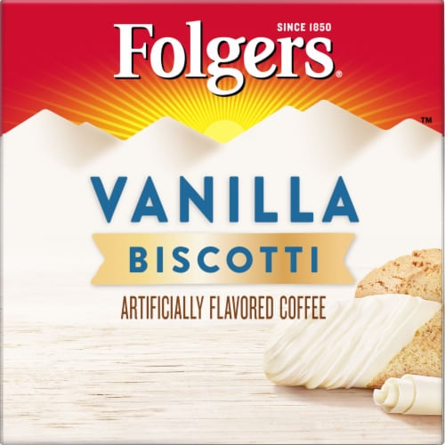 Folgers Gourmet Vanilla Biscotti Flavored Coffee K-Cup Pods Perspective: left