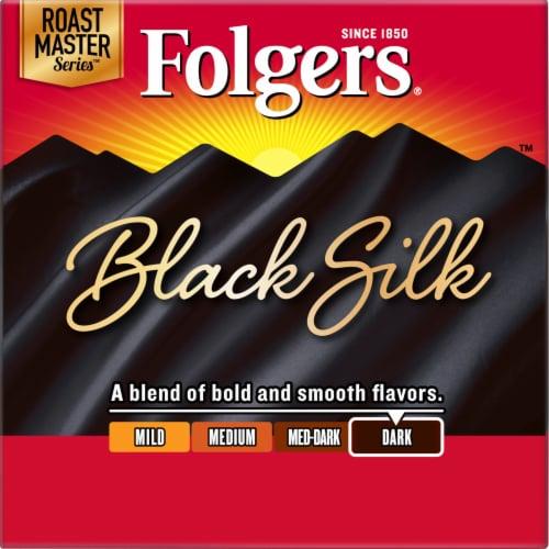 Folgers Gourmet Selections Black Silk Dark Roast Coffee K-Cup Pods Perspective: left