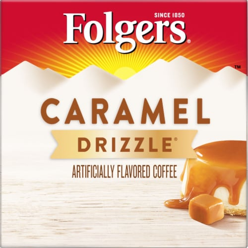 Folgers Gourmet Selections Caramel Drizzle Coffee K-Cup Pods Perspective: left