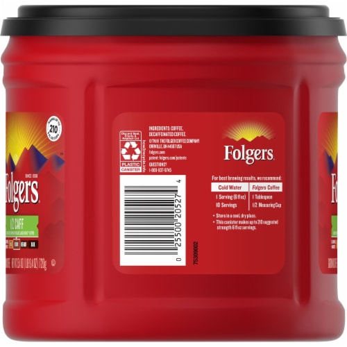 Folgers Half Caff Classic Roast Ground Coffee Perspective: left