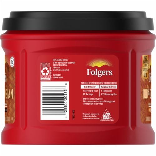 Folgers 100% Colombian Medium Ground Coffee Perspective: left