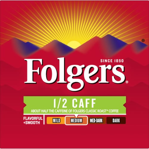 Folgers Half Caff Coffee K-Cup Pods Perspective: left
