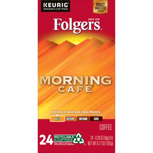 Folgers Morning Cafe Mild Roast Coffee K-Cup Pods Perspective: left