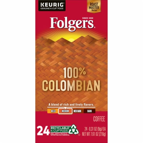 Folgers 100% Colombian Medium Roast Coffee K-Cup Pods Perspective: left