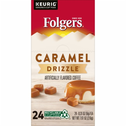 Folgers Caramel Drizzle Coffee K-Cup Pods Perspective: left