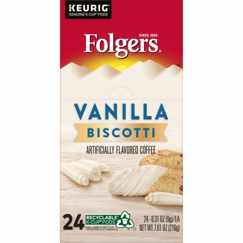 Folgers Vanilla Biscotti Flavored Coffee K-Cup Pods Perspective: left