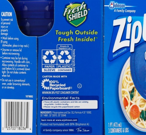 Ziploc Twist n Loc  Round Storage Pint Containers & Lids - Clear/Blue Perspective: left