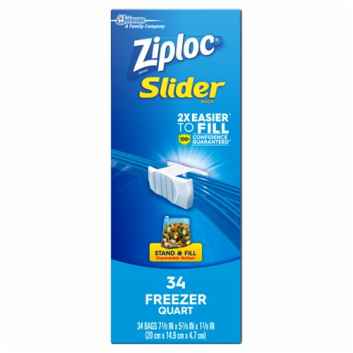 Ziploc Quart Freezer Slider Bags 34 Count Perspective: left