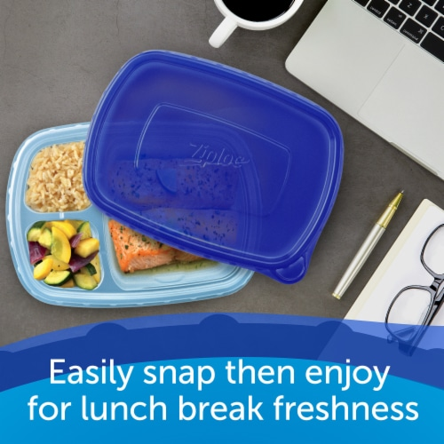 Ziploc Divided Rectangle Containers and Lids Perspective: left