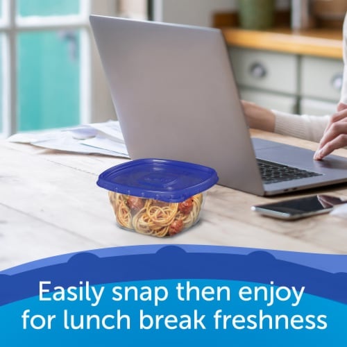 Ziploc One Press Seal Small Square Storage Containers & Lids - Clear/Blue Perspective: left