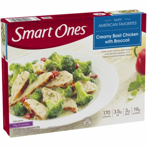 Smart Ones Tasty American Favorites Creamy Basil Chicken with Broccoli Perspective: left