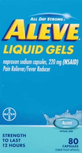 Aleve® Naproxen Sodium Pain Reliever/Fever Reducer Liquid Gel Capsules 220mg Perspective: left
