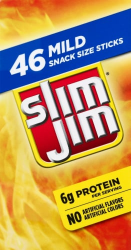 Slim Jim Mild Flavor Snack-Sized Smoked Meat Stick Perspective: left
