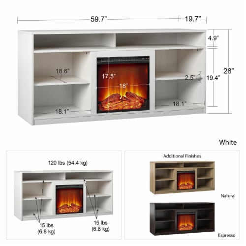 RealRooms Vesta Fireplace TV Stand for TVs up to 65 , Natural Perspective: left