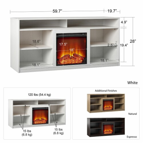 RealRooms Vesta Fireplace TV Stand for TVs up to 65 , White Perspective: left