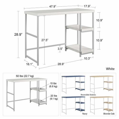 Kimberly Desk with Reversible Shelves Perspective: left