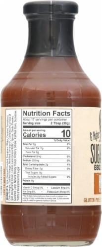 G Hughes Sugar Free Honey Smokehouse BBQ Sauce Perspective: left