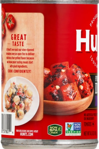 Hunt's Fire Roasted Garlic Diced Tomatoes Perspective: left